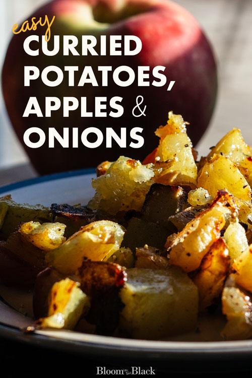 These roasted potatoes with spiced apples and onions are an easy, flexible recipe that can be tweaked for anyone's tastes. Especially good for cooking on a budget, this is a great way to use up your sturdy produce at the end of the week.