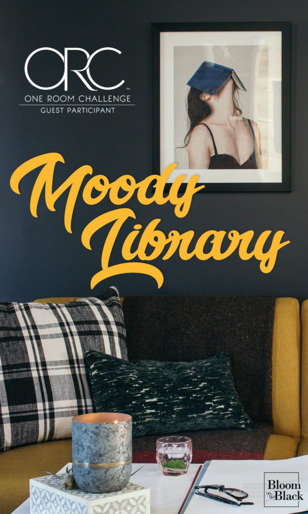 If you are loving the moody look and want some inspiration for your living room, sitting room, or library, you need to check out this room reveal! Packed full of styling inspiration, built-in ideas, and beautiful furniture that won't break the bank. #livingroomideas #livingroominspiration #builtinideas #library #yellowcouch #moodylivingroom