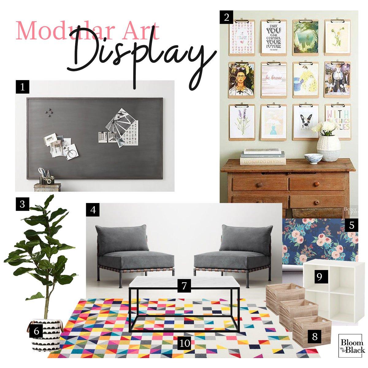 Artsy tween girls room decor with modular art display!