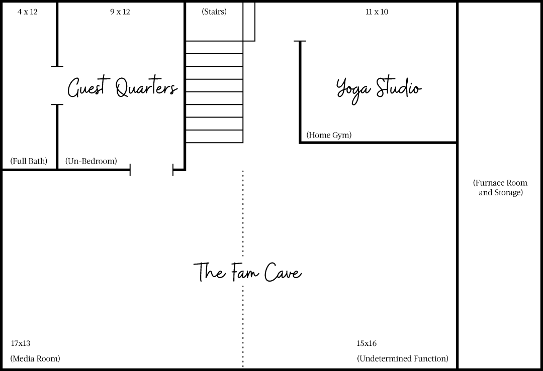 The overall basement floor plan.