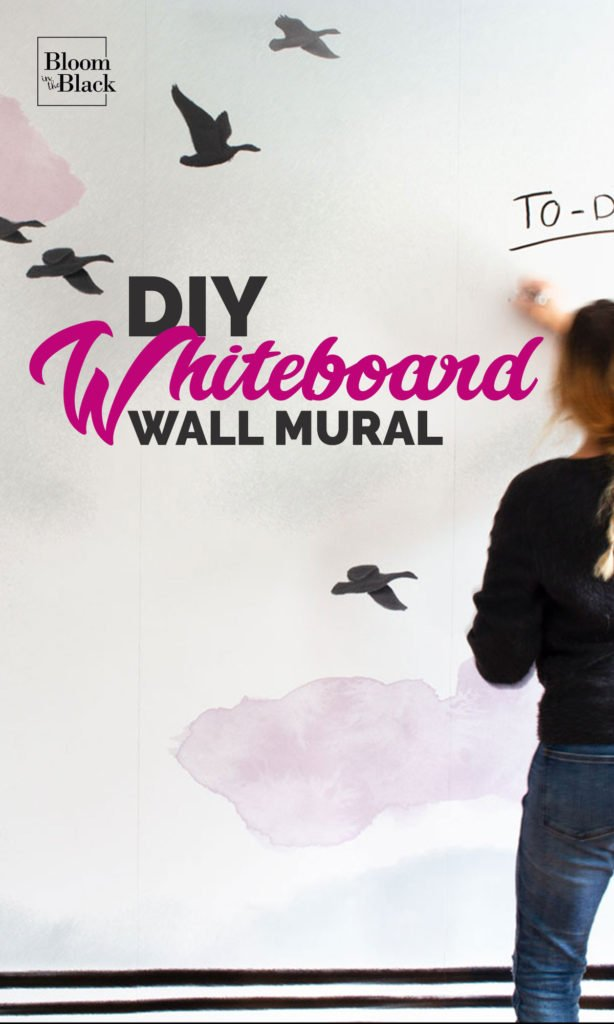 Create a huge DIY whiteboard -- that doubles as a wall mural -- in one weekend! The materials list is short and the hands-on time can easily be completed over a weekend. #whiteboardideas #diywhiteboard #wallmural #diywallmural #weekendproject #homeofficeideas
