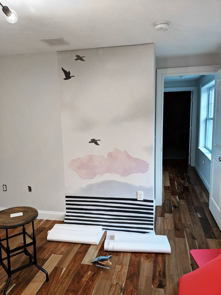 Hang your mural for the DIY whiteboard