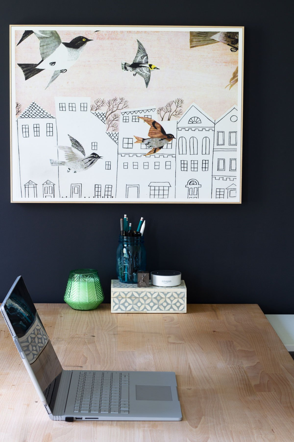 Graphic Home Office: One Room Challenge. Art produced by WhiteWall Labs