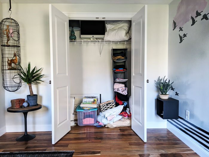 Graphic Home Office: One Room Challenge. The closet is still a hot mess, ha!