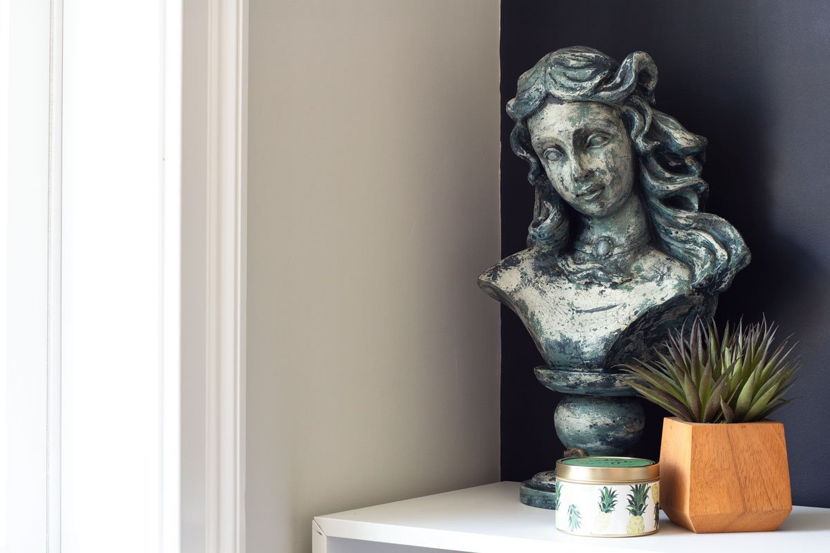 Graphic Home Office: One Room Challenge. A pretty bust that reminds me of a mermaid