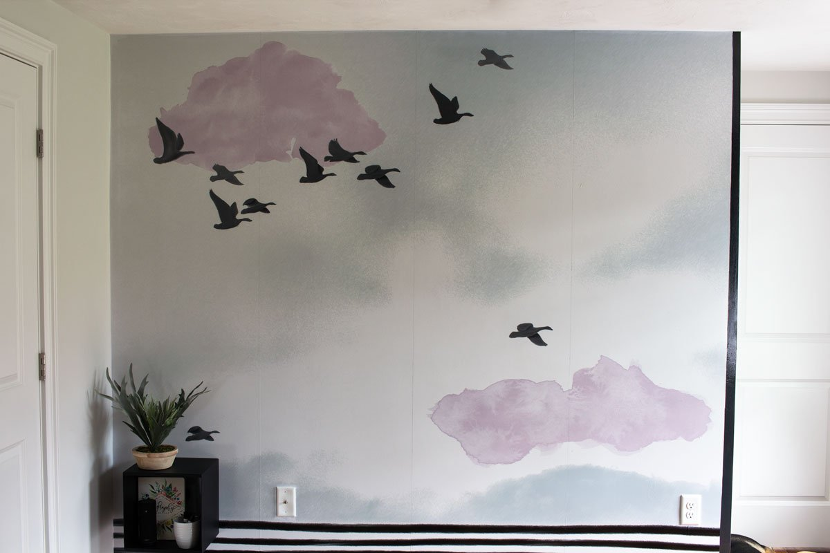 Graphic Home Office: One Room Challenge. This whiteboard / wall mural hybrid is gorgeous and functional.