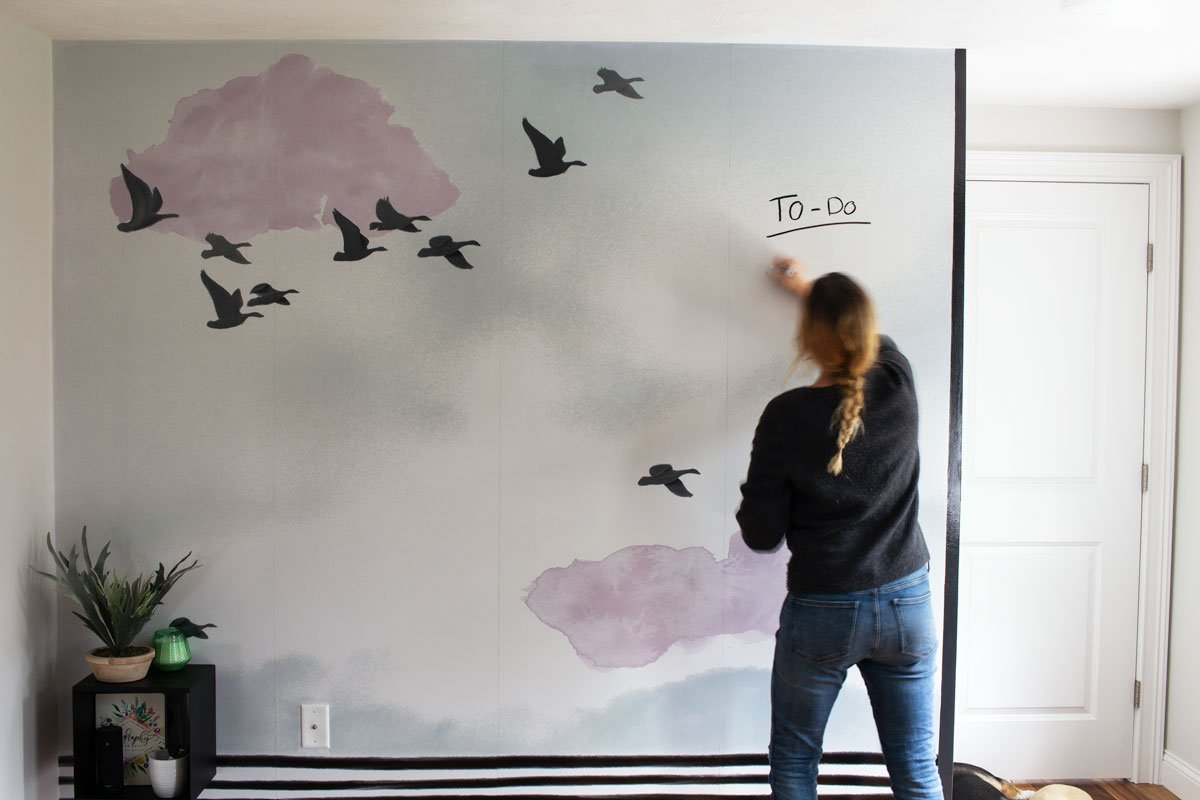 Graphic Home Office: One Room Challenge. Keep your to-do list front and center with this whiteboard / wall mural hybrid is gorgeous and functional.