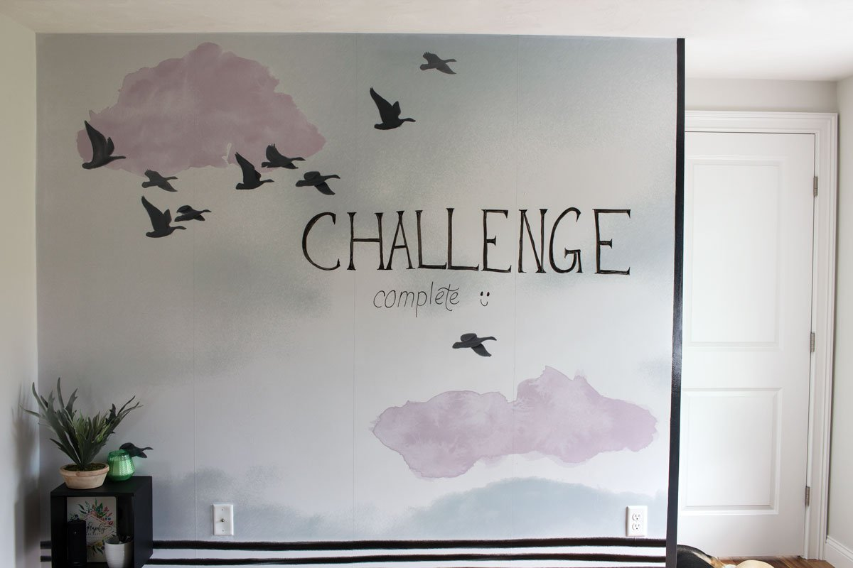 Graphic Home Office: One Room Challenge. The amazing whiteboard wall mural@ Challenge complete (with bad word art, ha)