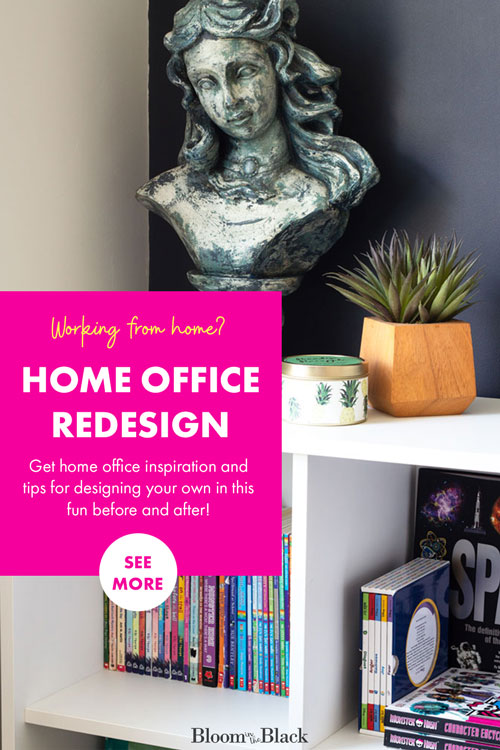 Need home office ideas? This multi-functional office design has tons of DIYs and decor inspiration. Get ideas for organization and don't miss the giant whiteboard wall! This small home office is full of inspiration and has a great IKEA desk hack that offers tons of storage and style!