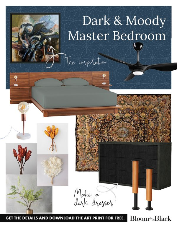 Here's the updated Dark and Moody Master Bedroom mood board