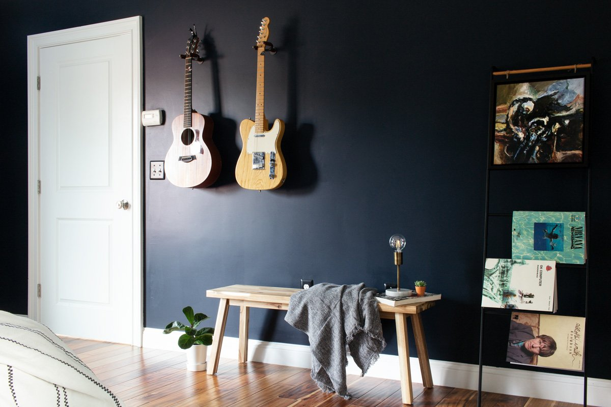 Guitar feature wall on navy blue