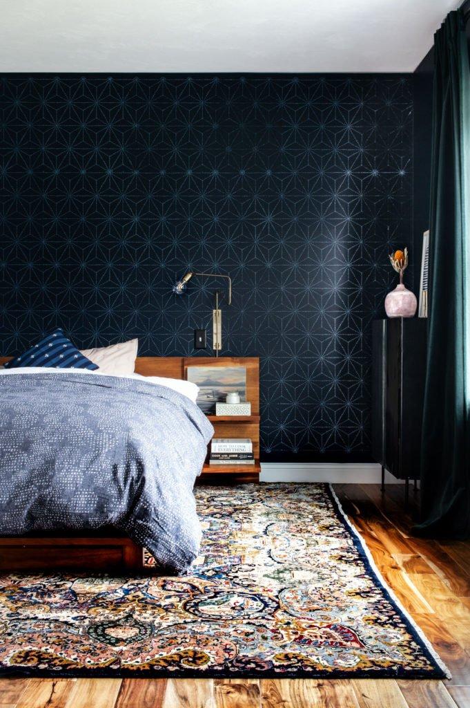 Dark and moody master bedroom design