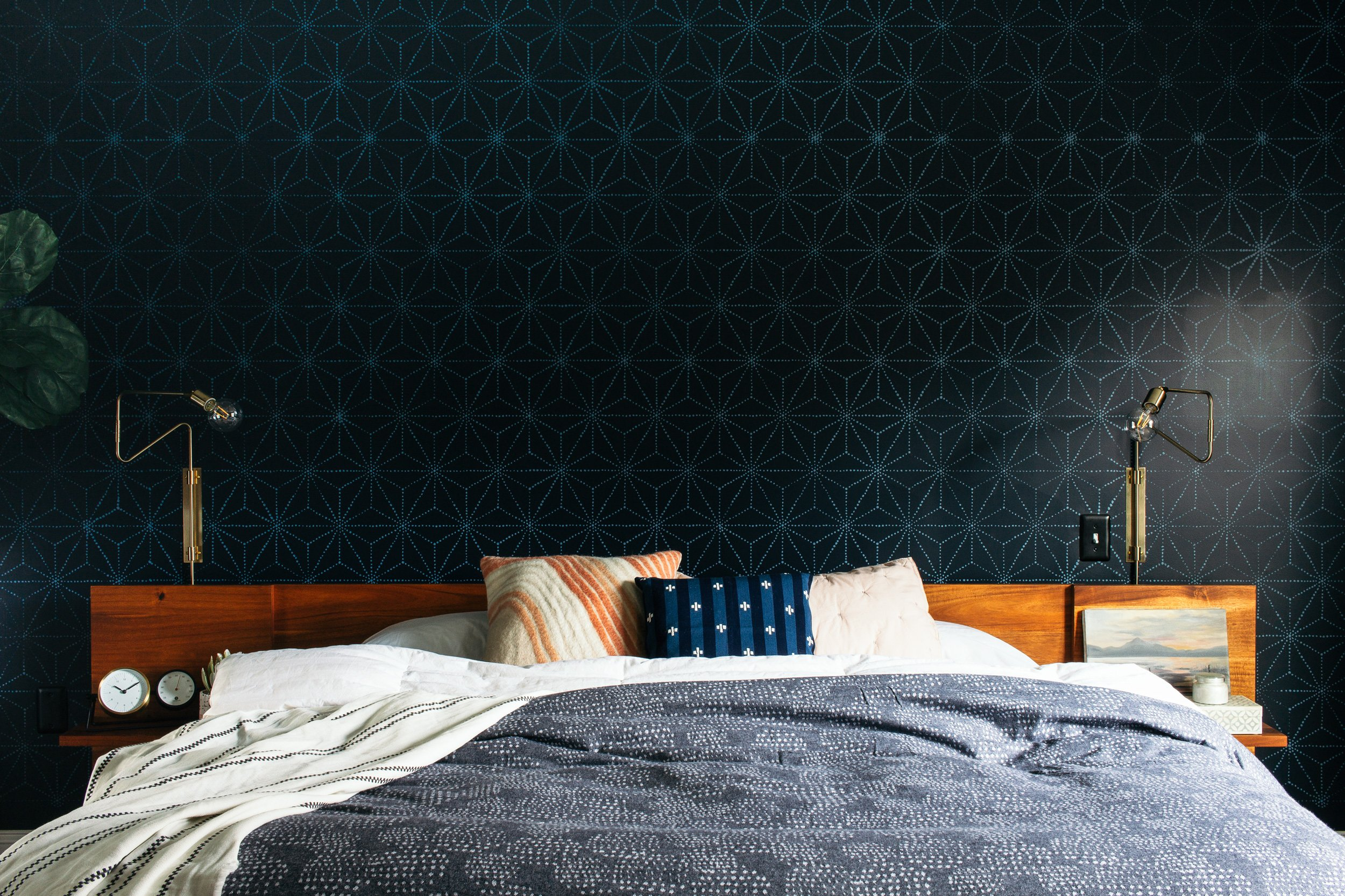 Dark and moody master bedroom reveal with stencil wall detail