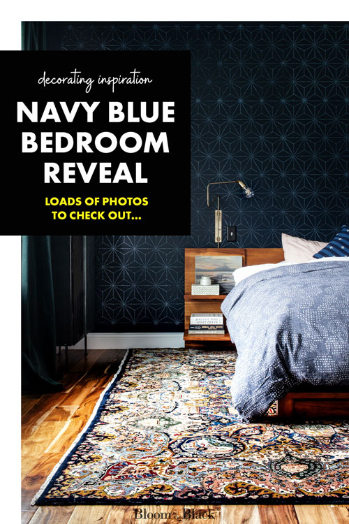 In this big navy blue master bedroom reveal, you'll get ideas for a stenciled accent wall, how to mix black and dark blue in a bedroom, and tons of photos to save for your mood boards. Be sure to check out the gorgeous guitar wall!