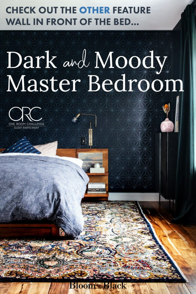 This dark and moody master bedroom is the ultimate cozy retreat. Using shades of black, navy, blue, and green with lush velvet curtains and subtle pink accents, this masculine bedroom is full of decor ideas. #masterbedroom #moodycolors