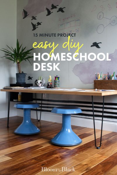 Are you suddenly homeschooling? Build this DIY homeschool desk in under 15 minutes. Perfect for remote learning for elementary school age.