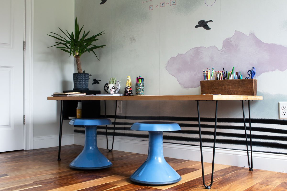 Make this modern homeschool desk in only 15 minutes.