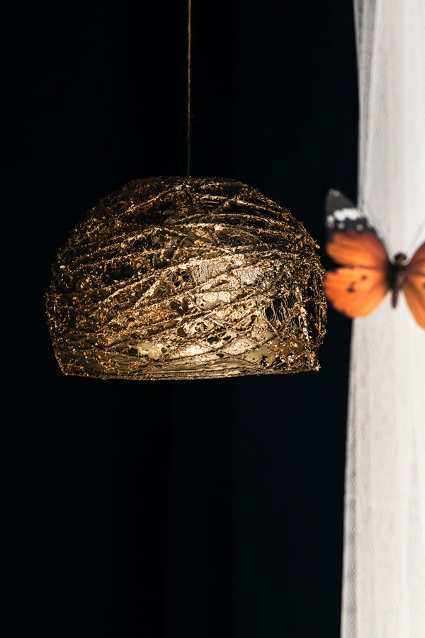 DIY Gold Leaf Pendant Light: Battery-Powered and Under $10