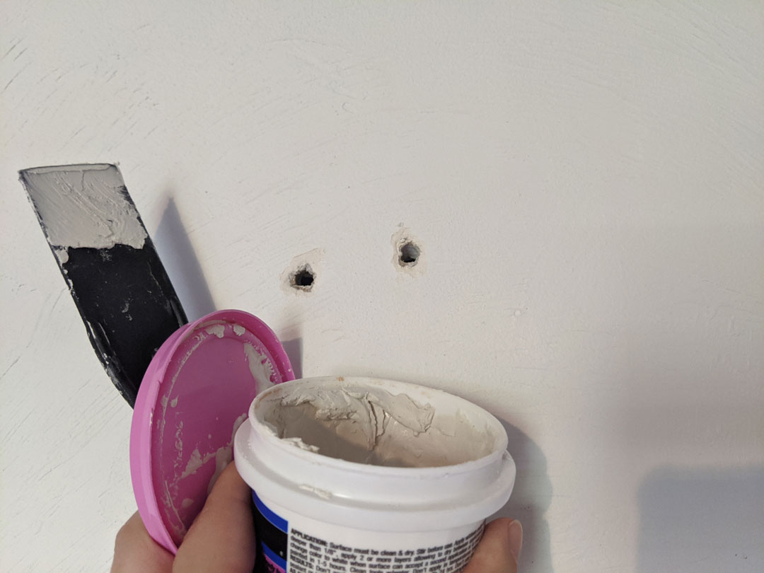 patch holes with spackle
