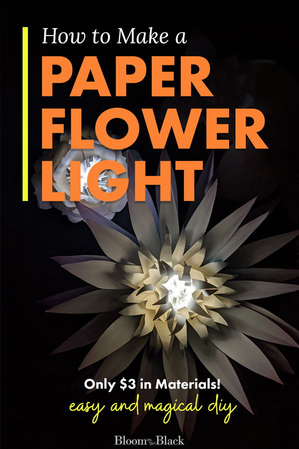 Add a special touch to your paper flower wall with a few DIY paper flower lights. These paper flower lanterns are a super easy DIY paper craft that is affordable and quick to make. Doubles as a nightlight for a girls bedroom. #papercraft #paperflower #diypaperflowerlight