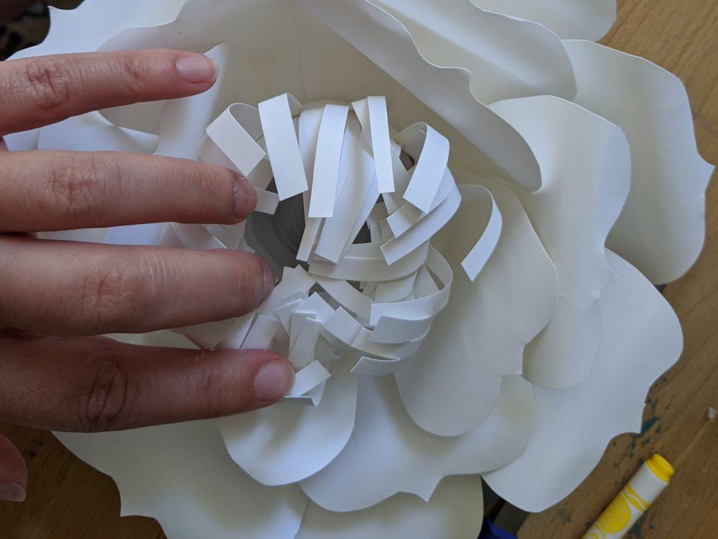 making paper flowers lanterns