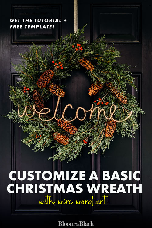 Have you ever wondered how to make wire words? In this crafty DIY, learn to make yarn wrapped wire word art to decorate a basic store-bought Christmas wreath. Also included are ideas for different material finishing -- like jute, faux neon signs, and twinkle light word art. Read this tutorial on making your own wrapped wire word art and where to use them. Free template included with the tutorial!