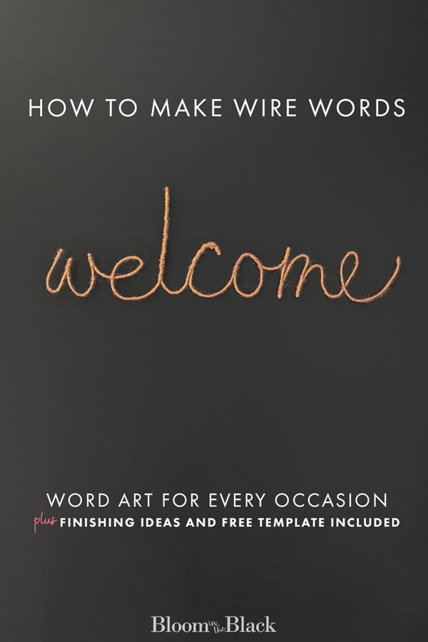Have you ever wondered how to make wire words? In this crafty DIY, learn to make yarn wrapped wire word art. Also included are ideas for different material finishing -- like jute, faux neon signs, and twinkle light word art. Read this tutorial on making your own wrapped wire word art and where to use them. Free template included with the tutorial! #diycraft #wirewords #wordart #wiredwordwallart