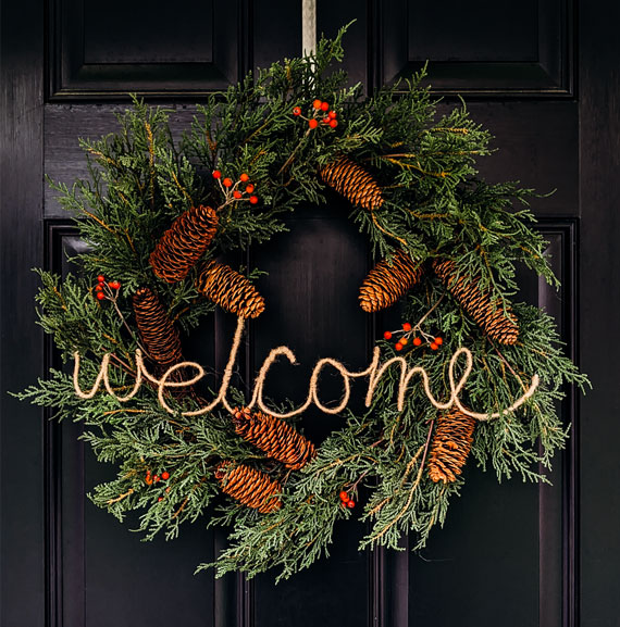 Dress up a storebought wreath with this DIY wire word
