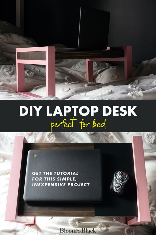 Love to work from your bed? Make a wooden DIY laptop desk with this simple tutorial, This modern laptop table can also be used as a bed tray table if you like breakfast in bed! Also perfect for watching movies on your iPad or laptop.