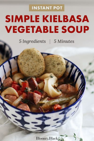 This easy kielbasa vegetable soup recipe is perfect for winter. With only 5 ingredients it's simple to make and takes only 5 minutes in the Instant Pot (stovetop instructions included as well). This hearty dump and go soup is comforting and budget-friendly. You could even make it in the crockpot!