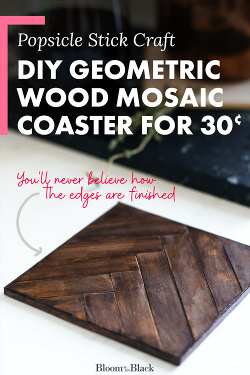 Try this cheap and easy wood mosaic DIY. This geometric mosaic wood coaster project looks very expensive but actually costs just $0.30 per coaster! The edges are trimmed in a very unexpected material…