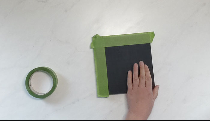 Tape the edges of the block to make a frame