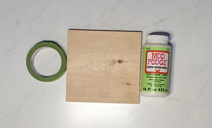 Materials for making a wood block craft for Valentine's day