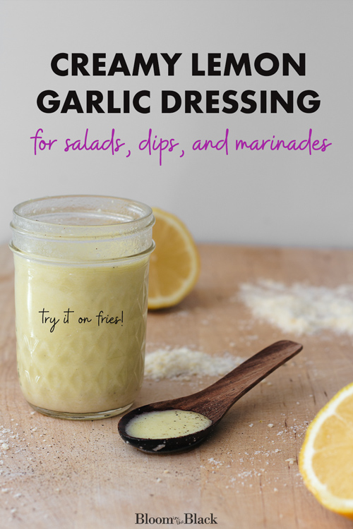 Craving spring salad? Try this creamy lemon garlic dressing recipe. It's delicous on arugula with slivered almonds and goat cheese. I also love this lemon garlic dressing recipe as a marinade for chicken, steak, pork, seafood -- even tofu! If you want to get a little crazy, try mixing a little of this homemade lemon vinaigrette into burgers then dipping your french fries into the rest!
