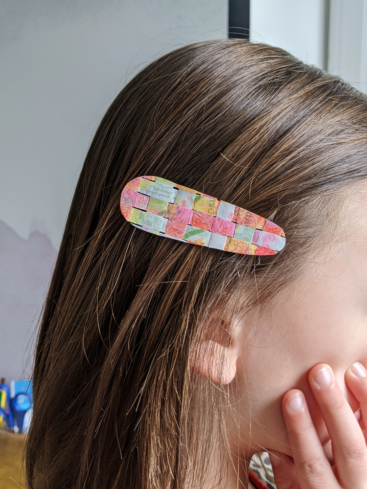 This basketweave barrette is made out of fused plastic fabric