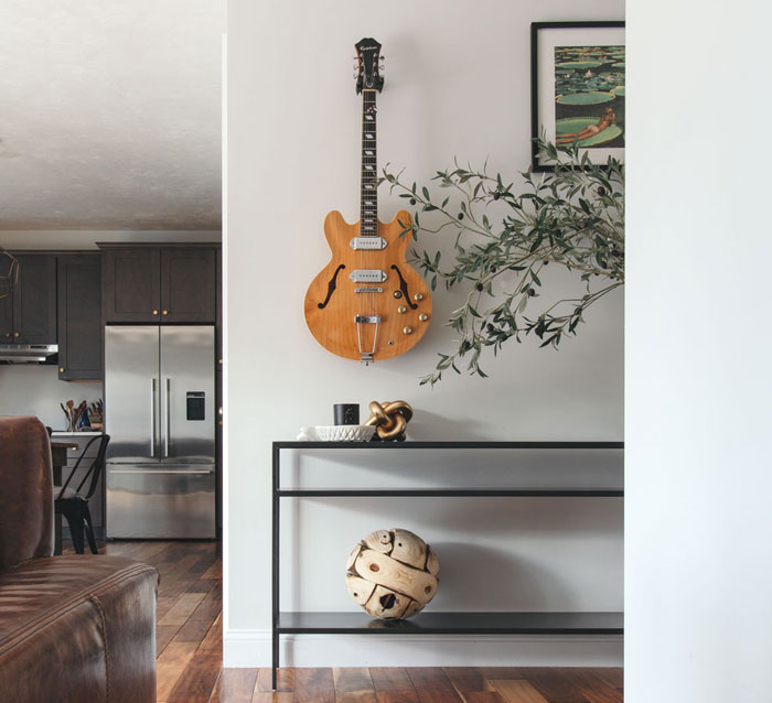 Choose a passion or interest for the theme of your man cave. We decided to do a music theme.