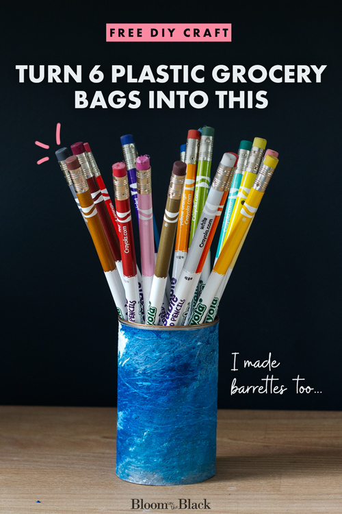 Learn how to make fused plastic bagsto make free DIY crafts. This is a great way to upcycle plastic bags we all end up accumulating. Get ideas for fused plastic bags projects while learning how to make fused plastic fabric! I've added a fun twist so you can get a custom colored marble effect.