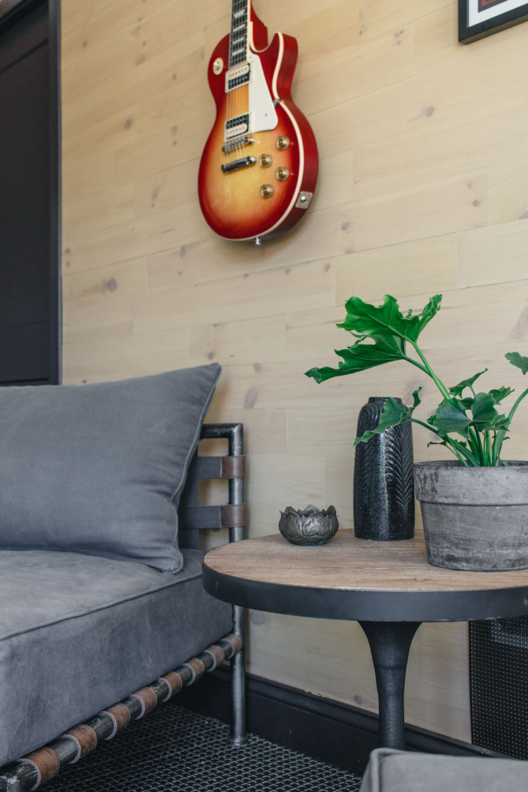 Peel and stick reclaimed wood wall with plant and guitar