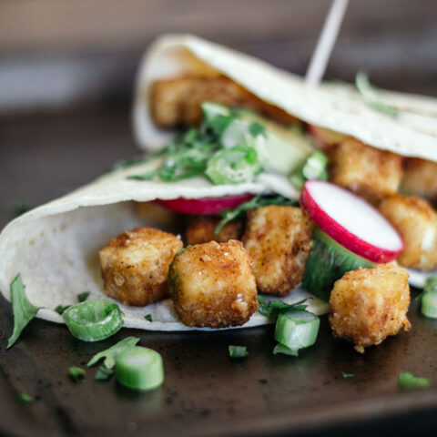 These crispy tofu tacos are affordable and family-friendly.