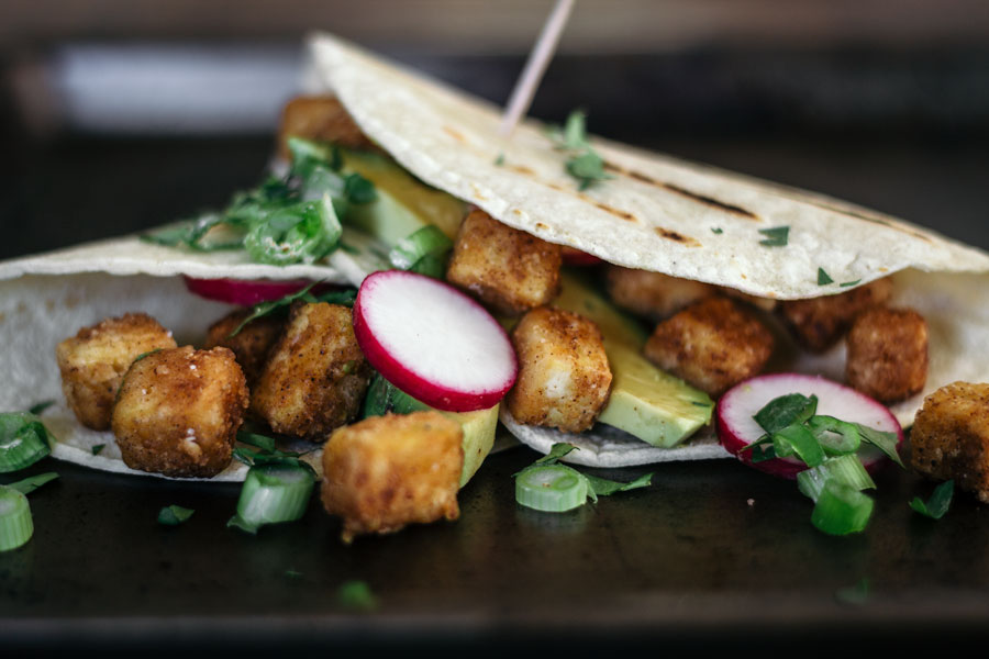 crispy tofu tacos with radish, avocado, scallions and cilantro