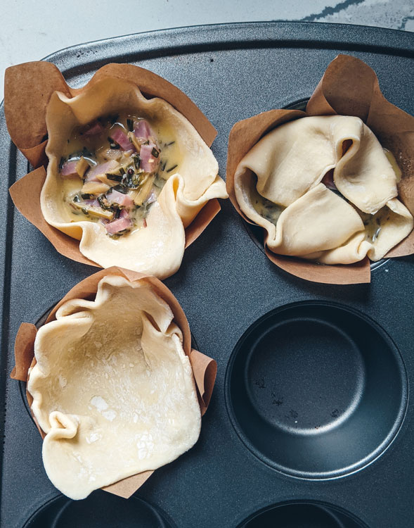 It's easy to put these souffle muffins together. This shows each step of construction.