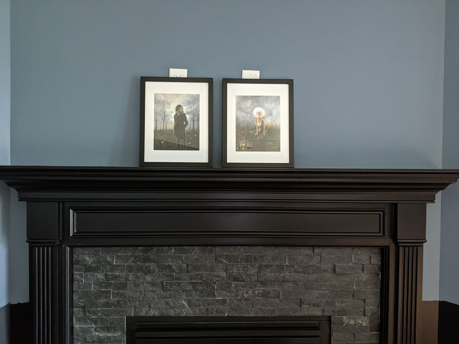 The art and the black fireplace
