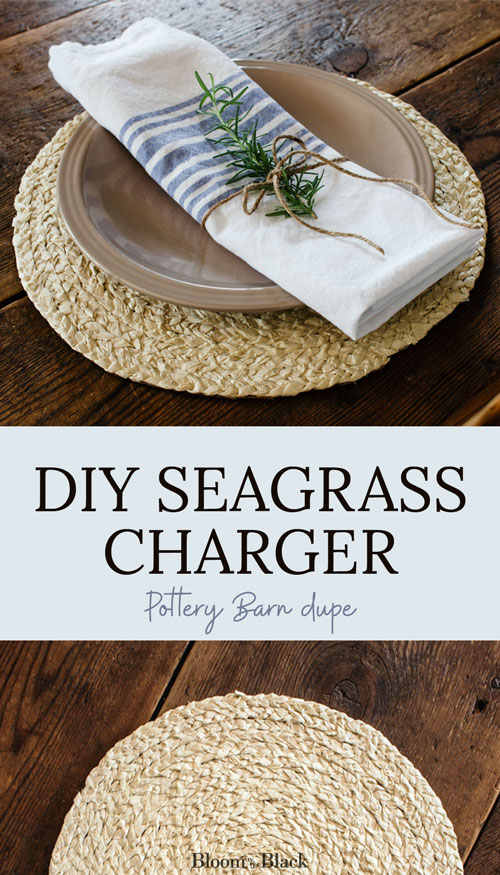 If you love coastal decor you'll love this DIY seagrass charger. This Pottery Barn dupe is an expensive-looking base for a coastal placesetting using a braided grass charger plate as a placemat. This high-end looking craft project is an affordable way to get the Pottery Barn look for your summer decor.