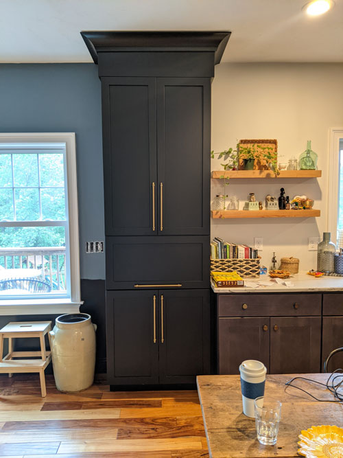 kitchen and living room transition in open concept