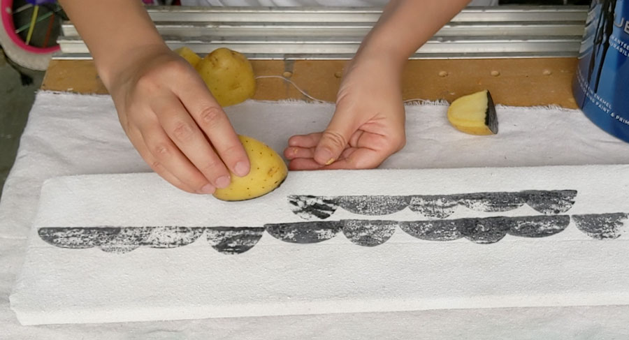 potato stamped fabric