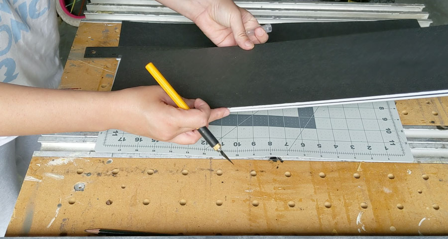 stack and glue foam boards to create the pinboard