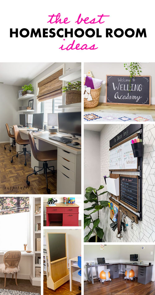 Looking for homeschool room ideas? Check out these 17 amazing ideas for homeschool room design, homeschool room set up, homeschool room organization, and homeschool furniture. Back to school is almost here so grab some inspiration for desks, chairs, command centers, homeschool decor and more!