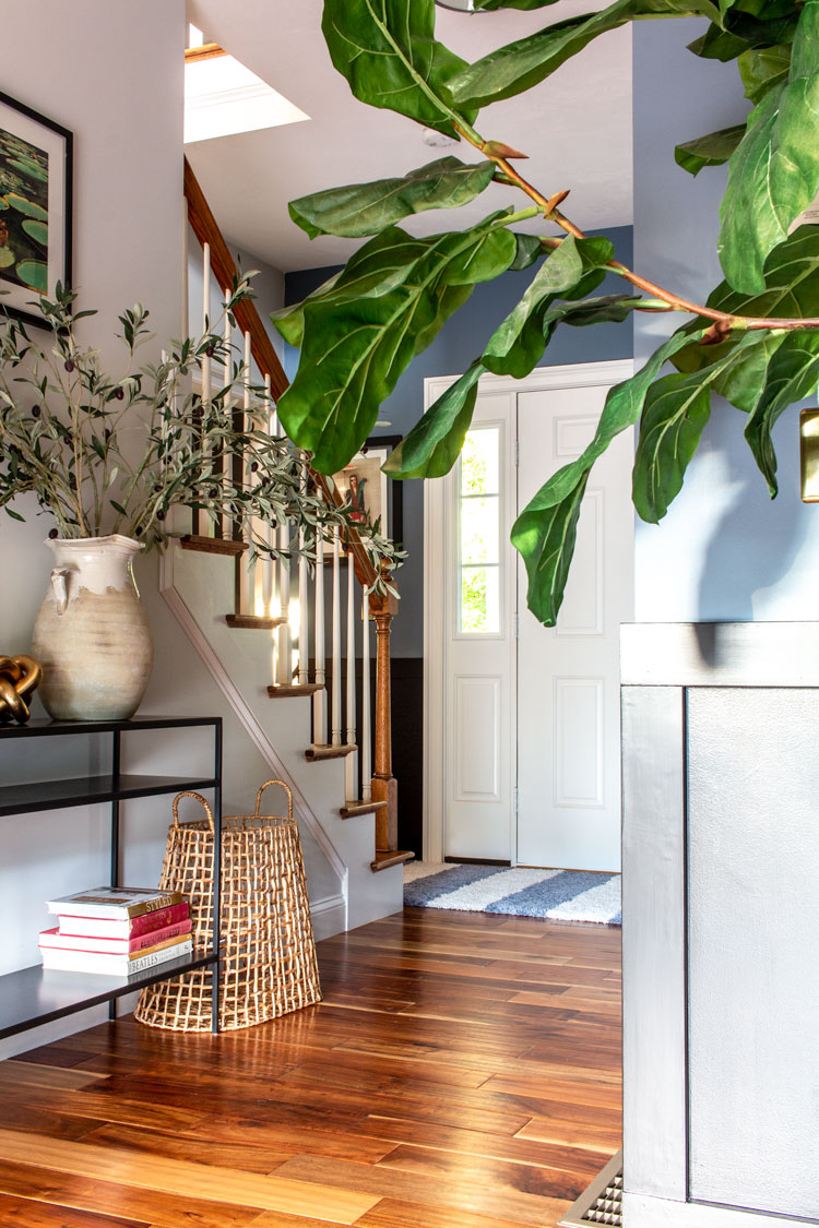 How to lay carpet tile in an awkward entryway.